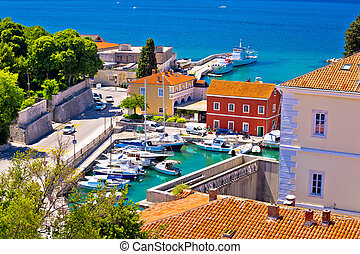 Famous Fosa harbor in Zadar aerial view
