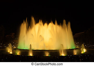 Famous fountains in the Plaza of Spain. Barcelona