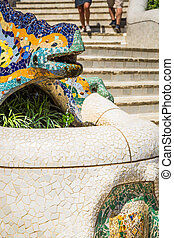 famous Gaudi lizard in park Guell, Barcelona, Spain