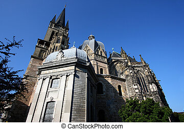 Famous German landmark. Aachen cathedral or Imperial Cathedral (Kaiserdom) in the region of North-Rhine-Westphalia, Germany. UNESCO World Heritage Site.