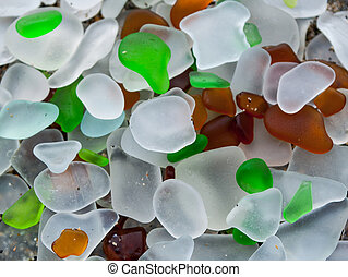 famous glass beach at Ft. Ross - close up of pieces of glass...