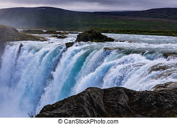 Famous godafoss is one of the most beautiful waterfalls on the iceland
