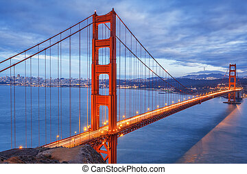 San Francisco at night - Famous Golden Gate Bridge, San...