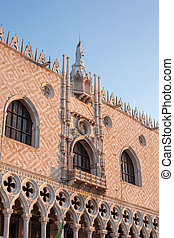 famous gothic facade of the Doge's Palace in Venice.