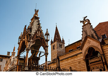 Famous Gothic Funerary Monument of Scaliger Tombs (Arche Scaligere) in Verona, Veneto, Italy