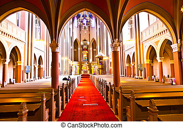 famous gothic Markt Kirche from inside - inside the famous...