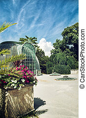 Famous greenhouse in the Lednice castle, Moravia, Czech...