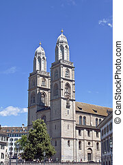 Famous Grossmunster church in Zurich