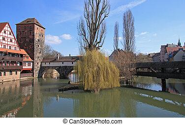 Famous Henkersteg, Henkerturm, and Wasserturm  Nuremberg