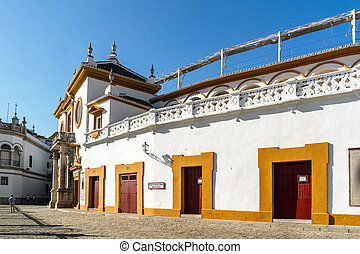 Famous, historic bull ring called Plaza de Toros in Seville, Andalucia, Spain
