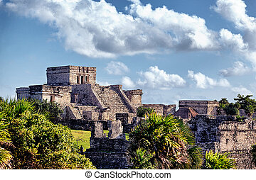 Famous historical ruins of Tulum in Mexico in summer