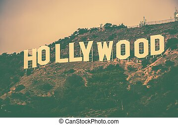Famous Hollywood Hills in Los Angeles Metro Area, California, United States. Hollywood Sign in Vintage Color Grading.
