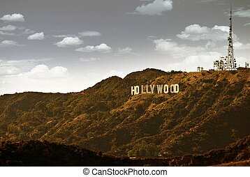 Famous Hollywood Hills in California, USA. Hollywood Sign....