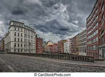 Famous Holzbrucke (so-called wooden bridge) with colorful buildings, Hamburg, Germany