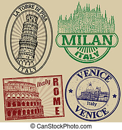 Set of grunge stamps with famous italian cities on retro background, vector illustration