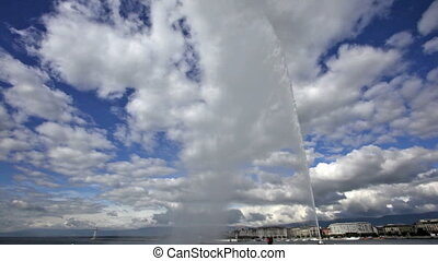 Famous Jet d-Eau fountain in Geneva, Switzerland - Scenic...