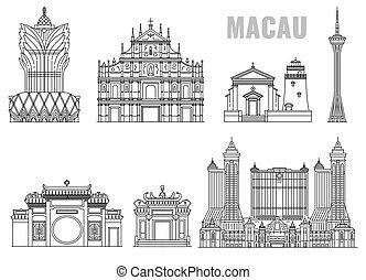 Famous landmark building line icon set from Macau, China - ...