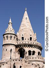 Famous landmark in Budapest - Fishermen's Bastion on Buda Hill.
