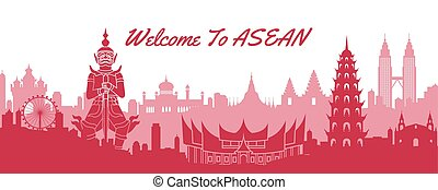 famous landmark of ASEAN, travel destination with silhouette...