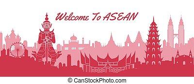 famous landmark of ASEAN, travel destination with silhouette classic design, vector illustration