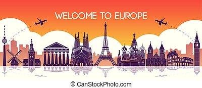 famous landmark of Europe,travel destination,silhouette design,purple and orange gradient color