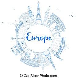 Famous landmarks in Europe. Outline Vector illustration.