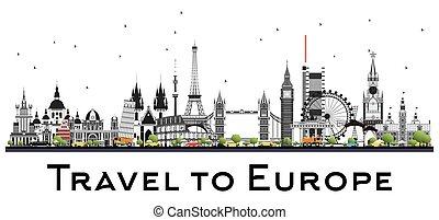 Famous Landmarks in Europe. Vector Illustration.