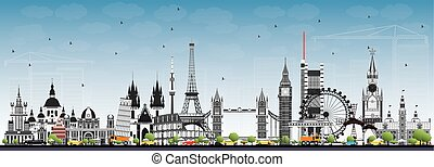 Famous Landmarks in Europe. Vector Illustration.