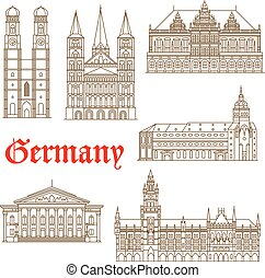 Famous german architectural travel landmarks thin line symbol with tourist attractions of Munich such as National Theatre and New Town Hall, St. Peter's Church and Frauenkirche Cathedral also Bonn Cathedral and Bremen Town Hall