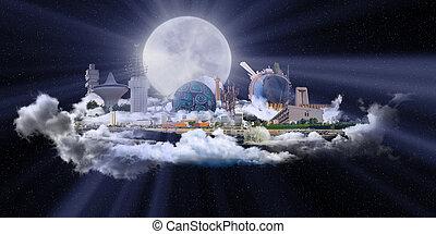 Famous Landmarks of Jeddah at night