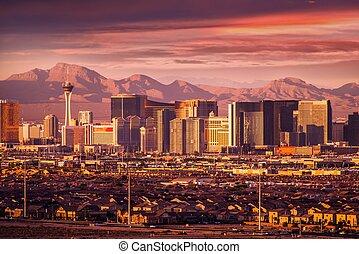 Famous Las Vegas Strip Skyline at Sunset. Vegas Strip Facing West. Nevada, USA.