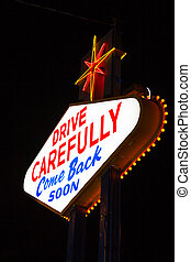 The famouse Leaving Las Vegas sign at night