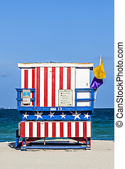 famous lifeguard towers in South beach, Miami
