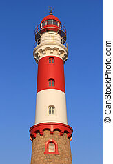 Famous Lighthouse in Swakopmund, a germam style colonial city on the Atlantic coast of northwestern Namibia