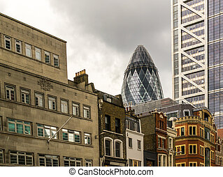 Famous London Gherkin Building and Classic City Buildings -...