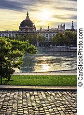 Lyon city at sunset with Rhone river - Famous Lyon city at ...
