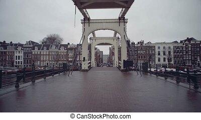 Famous Magere Brug or Skinny Bridge in Amsterdam,...