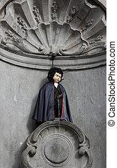 Manneken Pis in Brussels dressed as Dracula