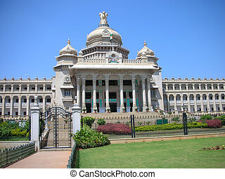 A closeup view of the Vidhana Soudha - the Legislature and Secretariat building - in Bangalore city, Karnataka State, India.