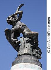 Famous monument of Fallen Angel (Lucifer) in Madrid, Spain. Parque del Buen Retiro.