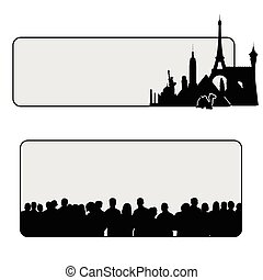 famous monuments illustration with people