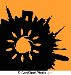 famous monuments illustration with sun