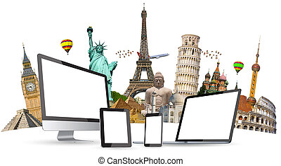 Famous monuments of the world and tech devices on white...