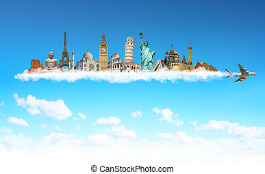 Famous monuments of the world behind a plane in blue sky -...