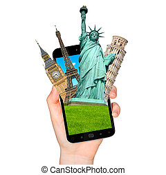Famous monuments of the world going out of a mobile phone on...