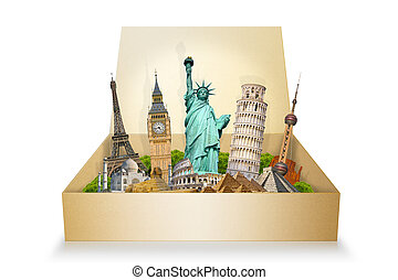 Famous monuments of the world grouped together in a box