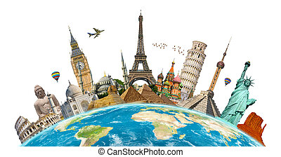 Famous monuments of the world grouped together on planet...