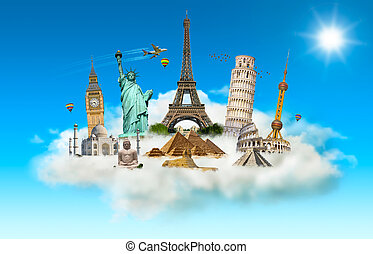 Famous monuments of the world in a cloud