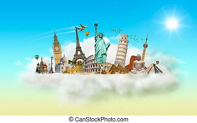 Famous monuments of the world in a cloud - Famous monuments...
