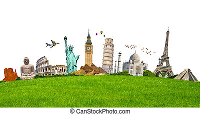 Famous monuments of the world surrounding green grass on...